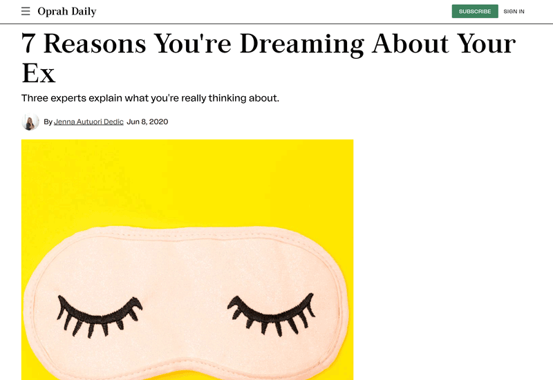 Oprah Daily Article - 7 reasons you're dreaming about your ex
